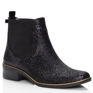 Kate Spade Black Glitter Sedgwick Rain Boots